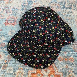 Floral Adjustable Flat Brim Hat